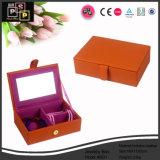 Rouge en simili-cuir mode Boîte à bijoux avec miroir (8631)