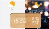 Hölzerner LED-Tisch-Taktgeber mit Temperatur und Humitity für förderndes Geschenk