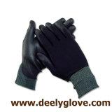 PU negro palma recubierta de poliéster negro guantes de seguridad