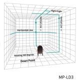 3 linhas esverdeiam o nível do laser com receptor do laser