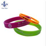Bracelet estampé coloré fait sur commande en caoutchouc de bracelet de silicones
