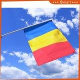 Bandierina d'ondeggiamento della mano nazionale all'ingrosso poco costosa della Romania per gli eventi di sport
