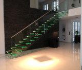 유리제 보행 보이지 않는 세로 침목을%s 가진 실내 LED 유리제 뜨 계단