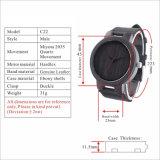 Reloj de madera negro de la vendimia para los hombres con el reloj modificado para requisitos particulares