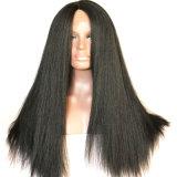 Dlme 까만 Yaki 똑바른 레이스 정면 합성 머리 가발