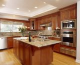 Gabinete de cozinha moderno norte-americano da madeira contínua do bordo de Luxuriours (PR-K2043)