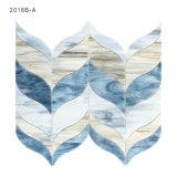 新しいデザインホーム装飾のための青いタイルの葉形のガラスモザイク