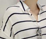 La venta al por mayor raya el collar del polo de las camisas de las señoras