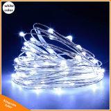 Lumière féerique extérieure solaire de chaîne de caractères de patio d'année neuve de lumière de Noël de chaîne de caractères du câblage cuivre DEL de la guirlande 10m pour le mariage de jardin