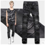 Calças de brim magros do motociclista da forma para calças de brim grossas rasgadas sarja de Nimes do motociclista da sarja de Nimes das calças de brim dos homens dos homens
