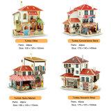Kinderen die vroeg het Onderwijs Houten 3D Huis van Doll van het Raadsel de leren assembleren het Speelgoed van het Raadsel