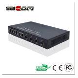 Переключатель сети волокна Китая 4*100m управления Saicom и волокна портов 6*10/100Mbps RJ45