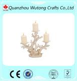 Palillo coralino blanco de la vela de la resina del sostenedor de vela del diseño de la resina del tema al por mayor del océano