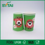 Cuvette de papier à mur unique verte de boissons chaudes de thé ou de café de la Chine de vente en gros d'impression de Flexo de vache à dessin animé