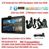 Новый навигатор PCS GPS таблетки Квад-Сердечника Android 6.0 Portablet автомобиля 2g/3G с полным автомобилем DVR HD1080p, видеозаписывающим устройством 2CH; Передатчик FM; AV-в для камере стоянкы автомобилей
