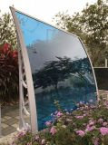 la hoja del policarbonato del soporte plástico del 1.0m abriga el pabellón con la tira de aluminio