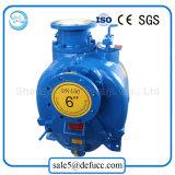 Individu amorçant la pompe à eau centrifuge pour l'agriculture avec le moteur