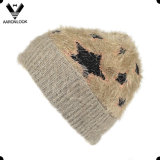 Chapéu feito sob encomenda feito sob encomenda do malha de Jacquard do fio da pena do inverno da forma