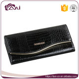Черные роскошные женщины кожаный бумажник крокодиловой кожи, повелительница Кожа Бумажник, бумажник коровы кожаный