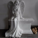Chinese White Marble Sitting Angel Monument for Cemetery