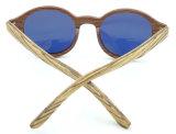 Fqw162877 nuevo diseño de la forma redonda de madera material de la lente gafas de sol de espejo