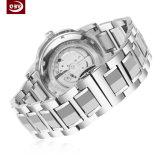 男性用黒く大きいダイヤルのステンレス鋼の水晶腕時計