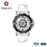 2016 Relógios de cristal de safira Preços Correia de couro branco Vogue Men Watch