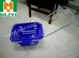 Varejo conveniente supermercado de plástico de 4 rodas cesto de compras