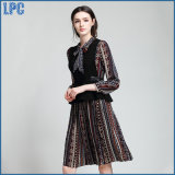 I vestiti Lace-up di modo del panciotto del vestito dalla tunica di stampa dei vestiti delle nuove donne