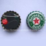 Blinkende Abzeichen der Bierflasche-Schutzkappen-LED mit Firmenzeichen gedruckt (3569)
