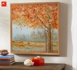 Het gouden Vreedzame Olieverfschilderij Countrside van Bomen