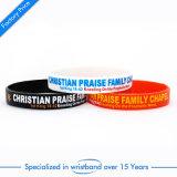 Wristband di gomma dello smalto promozionale per Debossedfashion elastico tessuto cristiano