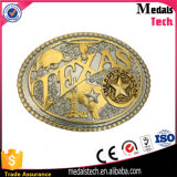 3D Metal Reised Dubai Forma de Construção Antique Bronze Metal Belt Buckle