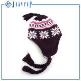 Acrylfreier Knit Earflap Beanie-Hut des Zoll-POM POM