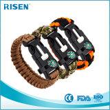 Multifunktions550 Überleben kundenspezifische Paracord Armband-Faltenbildung mit Firmenzeichen-Kompaß