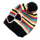 Chapéu feito malha jacquard com Pompon (JRK208)