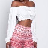 Мода женщин завернутые груди порванный жгут культур долейте плечо блуза