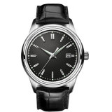 Cuarzo Watch72037 de la insignia de Customed del reloj del acero inoxidable de los hombres de cuero de la pulsera