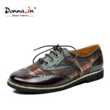 Casual Lady Brogue Leather Patchwok Oxfords Mulheres Flat Shoes (CIF)