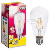 Luz de poupança de energia St64 E27 6W LED Filament Bulb