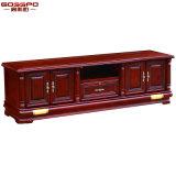Самомоднейший твердый деревянный шкаф TV с бортовой витриной (GSP13-001)