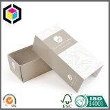 Rectángulo de papel de empaquetado del perfume de la cartulina de la insignia de la hoja de plata