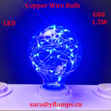 Bulbo colorido E27 G125, G95, bulbo del alambre de cobre LED de la decoración del día de fiesta de la estrella G80
