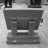 G633 Gray Granite Book Shape Headstone com Rose Carving
