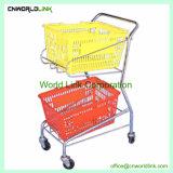 Cesta de três carrinhos móveis de supermercados do carrinho de compras