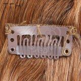 """여자를 위한 머리 연장에 있는 인도 똑바른 Virgin 머리핀, 사람의 모발 연장, 16 """" 18 """" 20 """" 22 """" 24 """" 26 """" 중간 브라운 (#6) 직모에 있는 클립"""