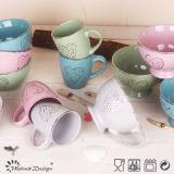 """"""" ciotola di cereale di ceramica 5.5 impressa con il disegno del cuore"""