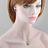 Conjunto artificial de la joyería del Rhinestone de Rose de la manera esmeralda del chapado en oro
