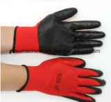 13 g/nylon polyester noir rouge ondulée de latex de caoutchouc recouvert de feux de travail des gants de la main pour la construction