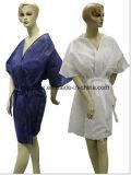 Pp.-nichtgewebter Sauna-Mantel-Kimono-Wegwerfmantel